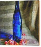 Blue Wine Bottle Wood Print