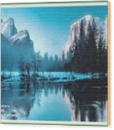 Blue Winter Fantasy. L A With Decorative Ornate Printed Frame. Wood Print