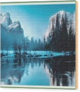 Blue Winter Fantasy. L B With Decorative Ornate Printed Frame. Wood Print