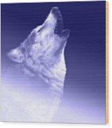 Blue Wolf    -007 Wood Print