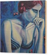 Blue Woman Thinking Wood Print