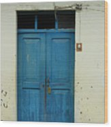 Blue Wood Door In A Building Wood Print