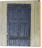 Blue Wood Door Wood Print