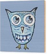 Blue Woot Owl Wood Print