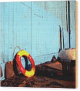 Blue Yellow And Red Wood Print by Peter OReilly