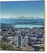 Blue Zurich Wood Print