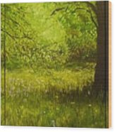 Bluebell Wood In Spring Triptych  Wood Print