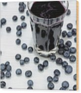 Blueberries And Blueberry Juice Wood Print