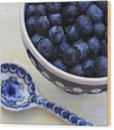Blueberries And Spoon  Wood Print