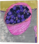 Blueberries In A Bowl Wood Print