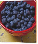 Blueberries In Red Bowl Wood Print