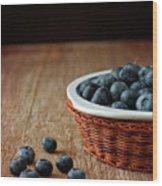 Blueberries In Wicker Basket Wood Print