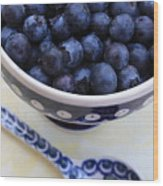 Blueberries With Spoon Wood Print