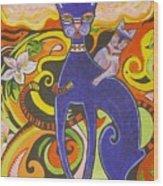 Blueberry Cat Wood Print