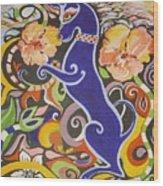 Blueberry Dog Wood Print