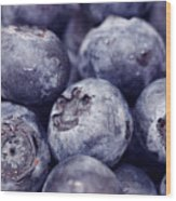 Blueberry Macro Wood Print by Kitty Ellis