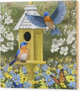 Bluebird Garden Home Wood Print