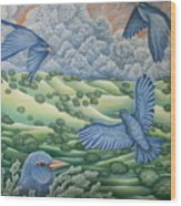 Bluebirds Of Happiness Wood Print