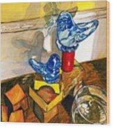 Bluebirds Of Happiness Wood Print