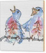 Bluebirds Singing A New Song Bd002 Wood Print