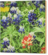 Bluebonnet Bouquet Wood Print