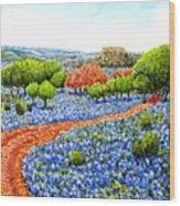 Bluebonnets Across Texas Wood Print