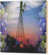 Bluebonnets And Windmill Wood Print
