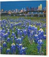 Bluebonnets In Dallas Wood Print