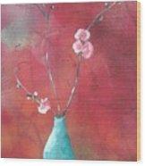 Bluegreen Vase Wood Print