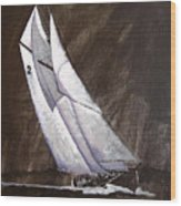 Bluenose At Night Coming Wood Print