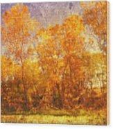 Gold Trees Wood Print