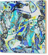 Blues Fishes Wood Print
