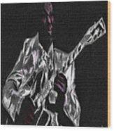 Blues In Silver Wood Print