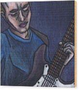 Blues Player Wood Print