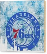 bluish backgroud for Philadelphia basket Wood Print