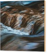 Blurred Cascades On The Autumn River Wood Print