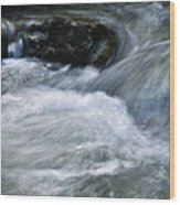 Blurred Detail Of A Mountain Stream Wood Print