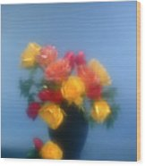 Blurred Roses In The Blue Wood Print