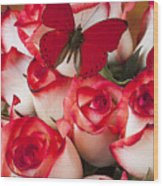 Blush Roses With Red Butterfly Wood Print