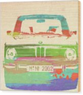 Bmw 2002 Front Watercolor 3 Wood Print by Naxart Studio