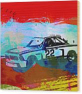 Bmw 3.0 Csl Racing Wood Print by Naxart Studio