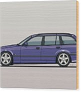 Bmw E36 328i 3-series Touring Wagon Techno Violet Wood Print