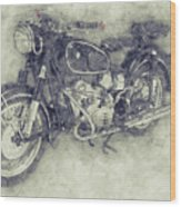 Bmw R60/2 - 1956 - Bmw Motorcycles 1 - Vintage Motorcycle Poster - Automotive Art Wood Print