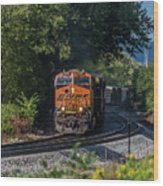 Bnsf Coming Around The Curve Wood Print