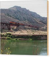 Bnsf Train Along The Wind River Wood Print