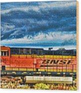 Bnsf Train Hdr Wood Print