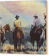 Board Meeting  Cowboy Painting Wood Print