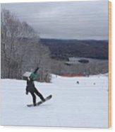 Board On Snow Wood Print