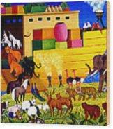 Boarding Noah's Ark At Night Wood Print