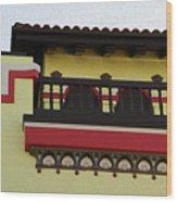 Boardwalk Buildings Wood Print